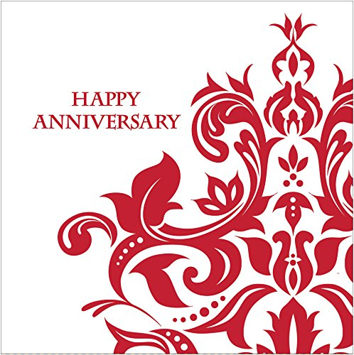 40th Anniversary Plates - Creative Converting 36 Count 3 Ply Happy Anniversary Lunch Napkins, Ruby