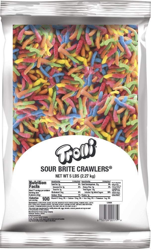 Trolli Sour Brite Crawlers Gummy Candy, 5 Pound Bulk Candy Bag