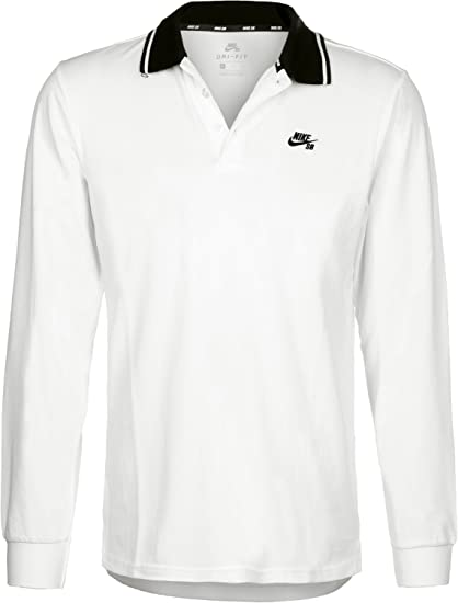 41c7c8a6 Image Unavailable. Image not available for. Color: Nike SB Dry Polo Long  Sleeve Thermal Shirt (Small, White/Black/Black