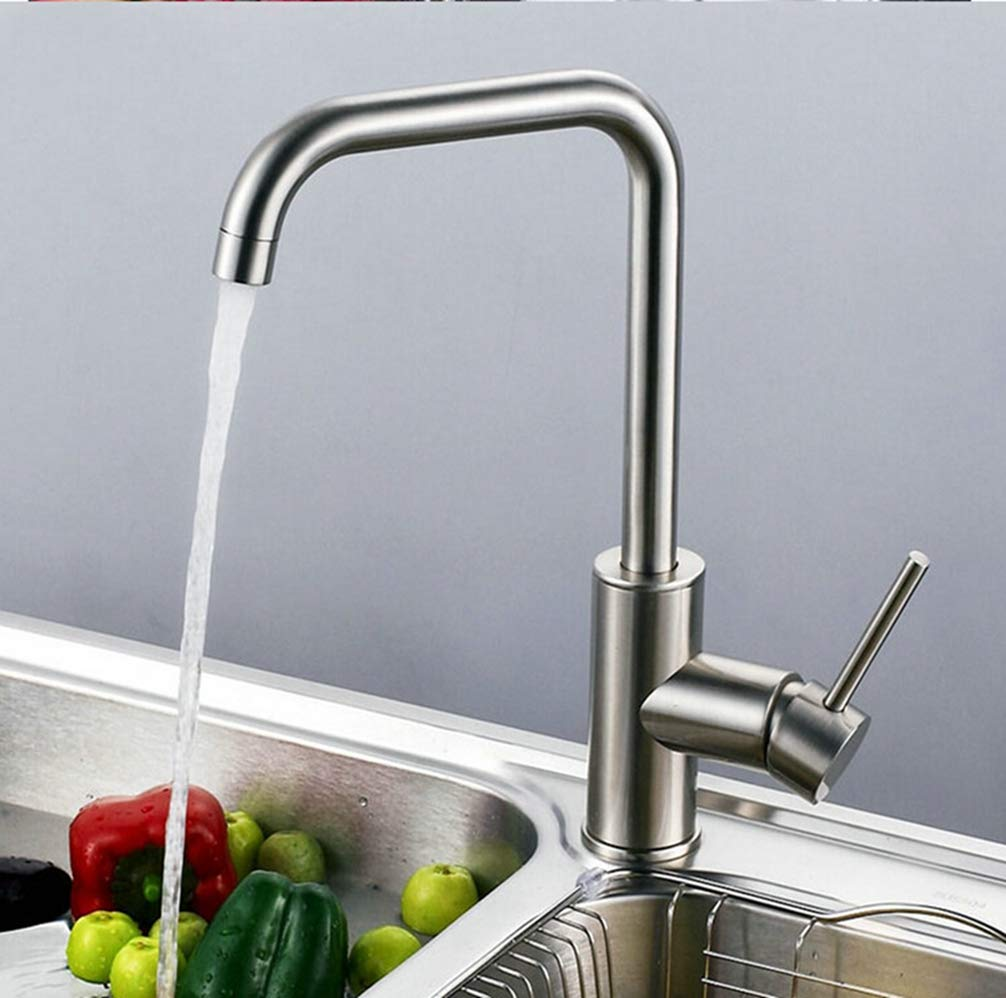 FZHLR Total 304 Stainless Steel Kitchen Faucet No Lead Safe Single Lever Nickel Finished Hot And Cold Kitchen Sink Faucet,Mixer Tap