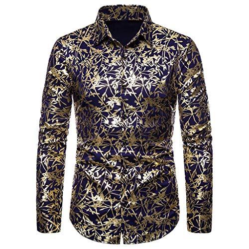 iLXHD Men's Dress Shirts Baggy Blazer Print Turn-Down Collar Button Long Sleeve Blouse KW-048 Navy