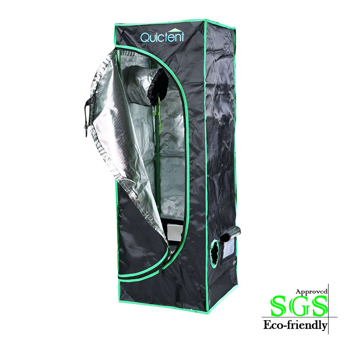 """Quictent SGS Approved Eco-friendly 16""""x16""""x48"""" Reflective Mylar Hydroponic Grow Tent with Heavy Duty Anti-burst Zipper and waterproof Floor Tray for Indoor Plant Growing"""