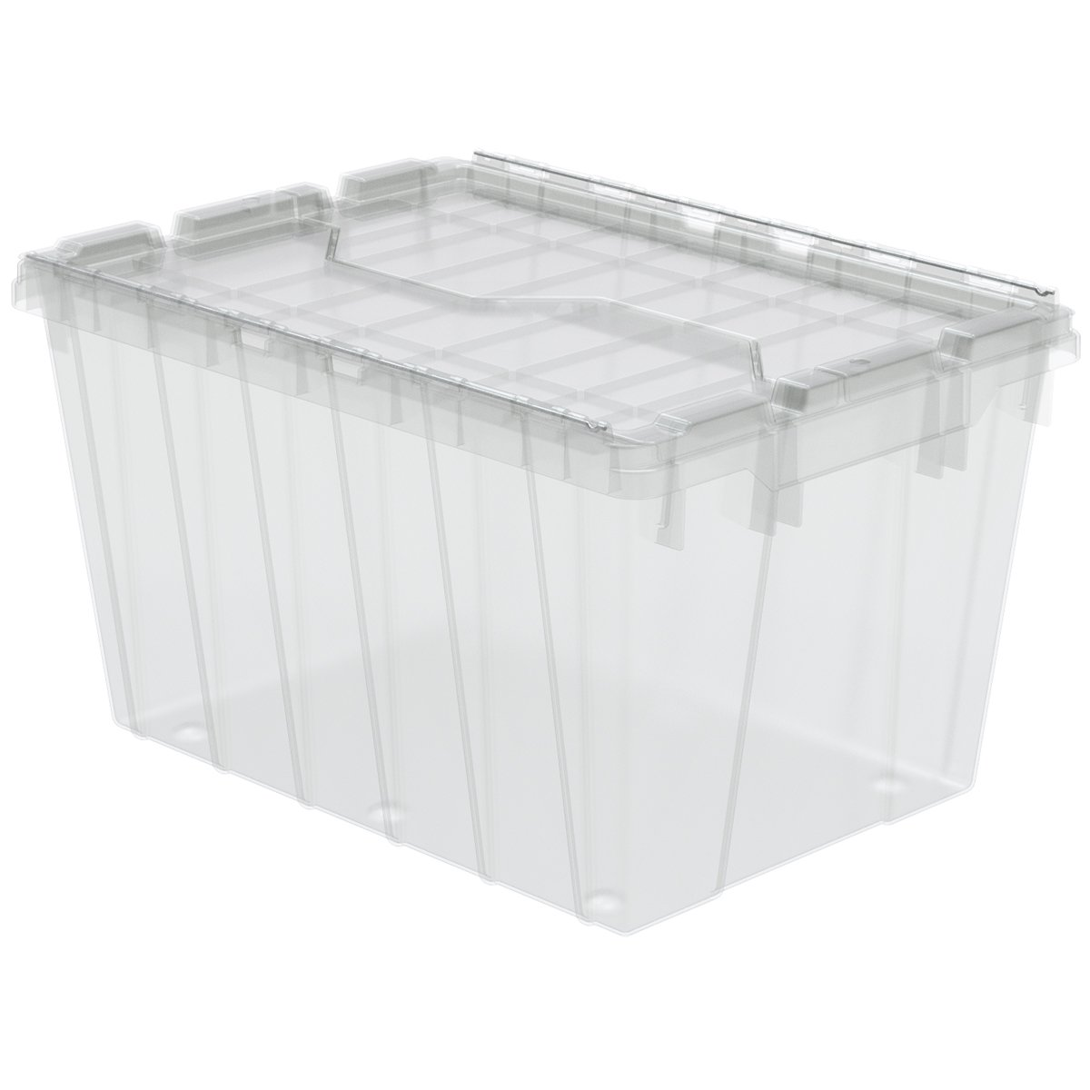 Akro-Mils 39120SCLAR Plastic Storage and Distribution Container Tote with Hinged Lid (6 Pack), 21.5'' L x 15'' W x 12.5'' H, Clear by Akro-Mils