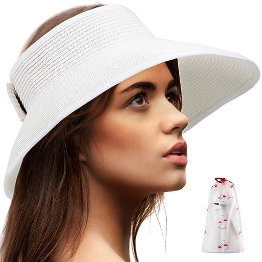 a88b246e4 Beach Visors for Women Hat - White Sun Hats for Women Packable Straw ...