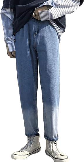 QYYジーンズ メンズ デニムパンツ ゆったり ジーパン ストレート おしゃれ ロングパンツ バイカラー Gパン ストリート系 ファッション ズボン