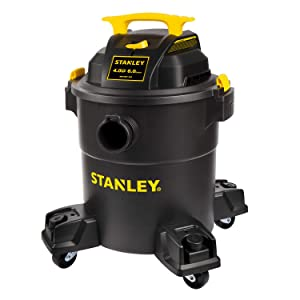 Stanley 6 Gallon Wet Dry Vacuum , 4 Peak HP Poly 3 in 1 Shop Vac Blower with Powerful Suction, Multifunctional Shop Vacuum W/ 4 Horsepower Motor for Job Site,Garage,Basement,Van,Workshop,Vehicle