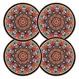 coffee coaster set - LogHog Ceramic Coaster Set of 4, Glass Cup Holder Coffee Mug Place Mats Absorbent Stone Coasters for Drinks (Bohemia Style 3)