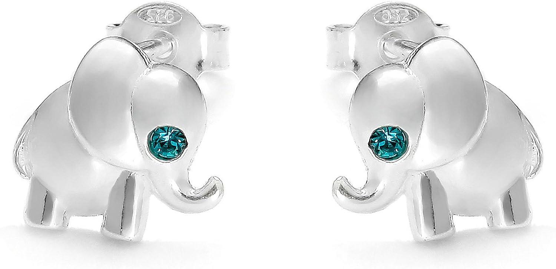 butterfly Filles Boucles Doreilles Argent Sterling 925 Bleu Vrais Swarovski Elements /Él/éphant Pochette /à Bijoux Cadeaux de Pour Enfants