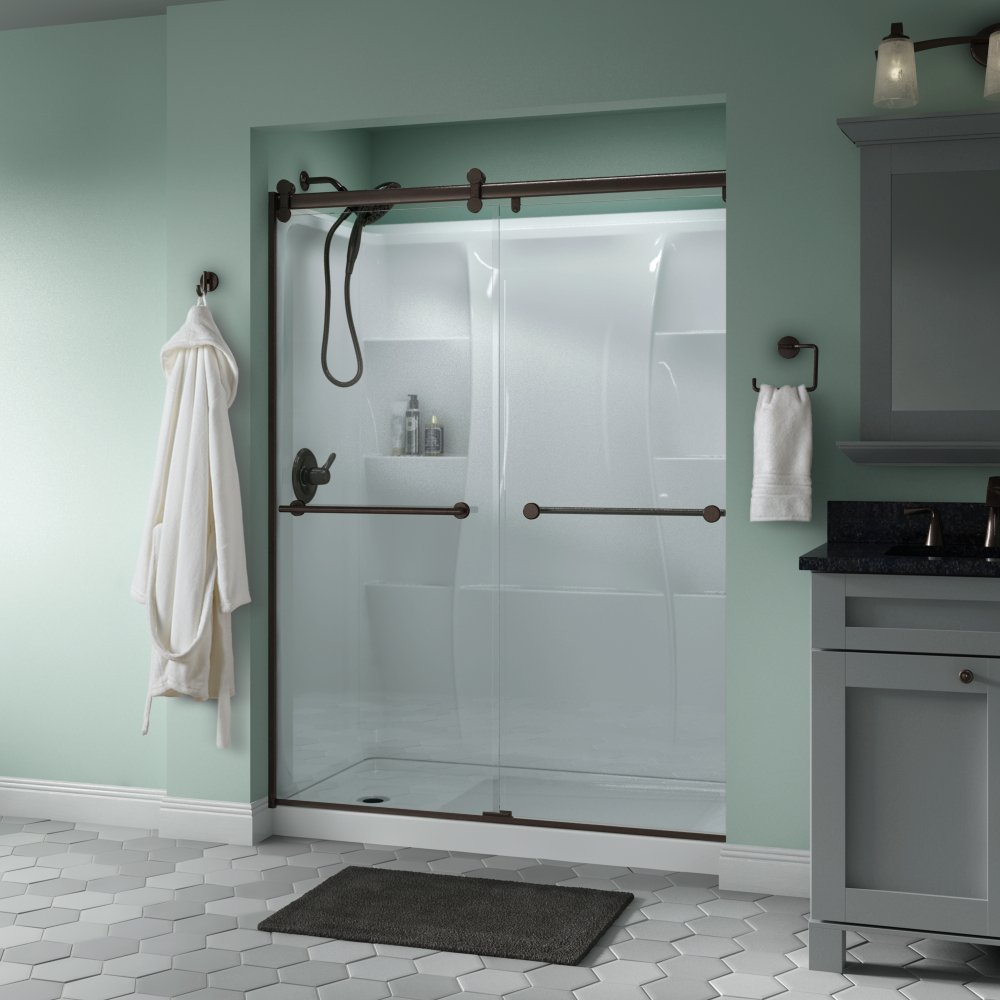 Delta Shower Doors SD3172720 Linden 60 x 71 Semi-Frameless Contemporary Sliding Glass Shower Door in Nickel with Transition Glass