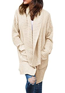 ae7de6f23e Imily Bela Women s Oversized Long Sleeve Shawl Collared Open Front Sweater  Chunky Cardigan