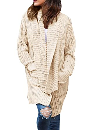 ee60c890027bed Imily Bela Women s Oversized Long Sleeve Shawl Collared Open Front Sweater  Chunky Cardigan Beige