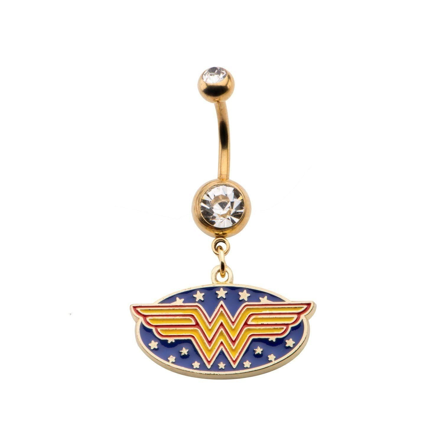 with Gift Box Licensed DC Comics Wonder Woman Logo 14g 7//16 Gold Plated Navel Ring with Dangle Charm