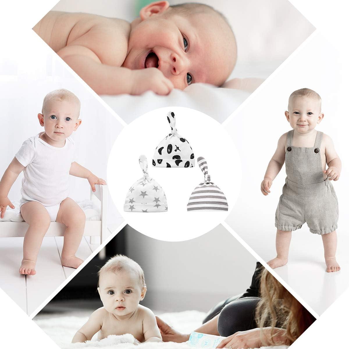 Borlai Set mit 3 verstellbaren niedlichen Beanie-M/ützen f/ür Neugeborene aus Baumwolle f/ür 0-6 Monate