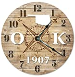 OKLAHOMA CLOCK Established in 1907 Decorative Round Wall Clock Home Decor Large 10.5″ COMPASS MAP RUSTIC STATE CLOCK Printed Wood Image Review