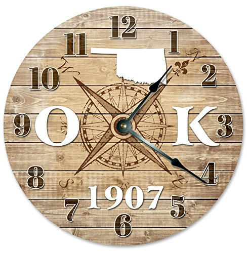 OKLAHOMA CLOCK Established in 1907 Decorative Round Wall Clock Home Decor Large 10.5