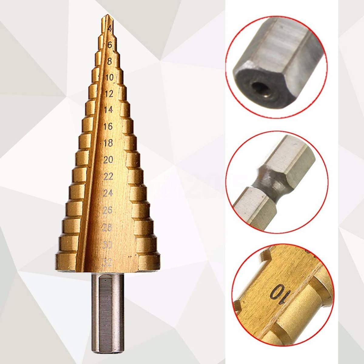Double Cutting Blades TOOCOOL Titanium Step Drill Bit set 5pcs Plastics Plexiglass 5 Standard Step Drill Bits Including an Automatic Center Punch Pipes High-Speed Steel Drill Bit for Metal /& Wood up to a Thickness of 5mm Total 50 Sides with Alumin