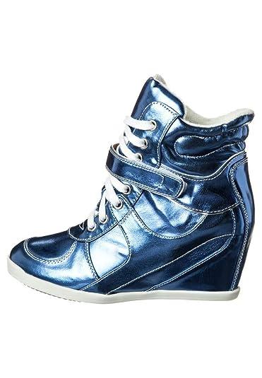 Even&Odd Damen extravagante Keilstiefelette in matallic blau Plateau