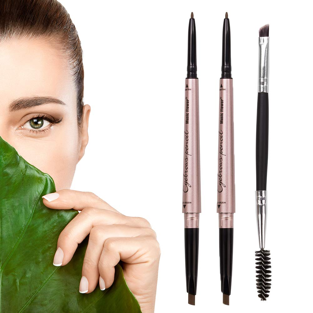 HeyBeauty 2 Pack of Eyebrow Pencil, Waterproof Eyebrow Makeup with Dual Ends