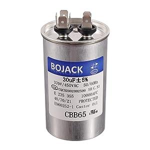 BOJACK Motor and Fan Starting Round Capacitor 30 uf MFD 370V 450VAC 50/60Hz CBB65 10000AFC