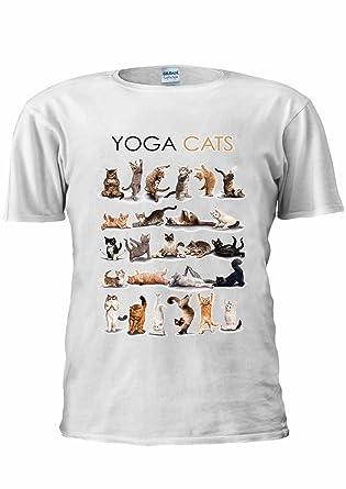 c97ae067b Yoga Cats Kitten Kitty Funny Gym Cute Unisex T Shirt Top Men Women Ladies:  Amazon.co.uk: Clothing