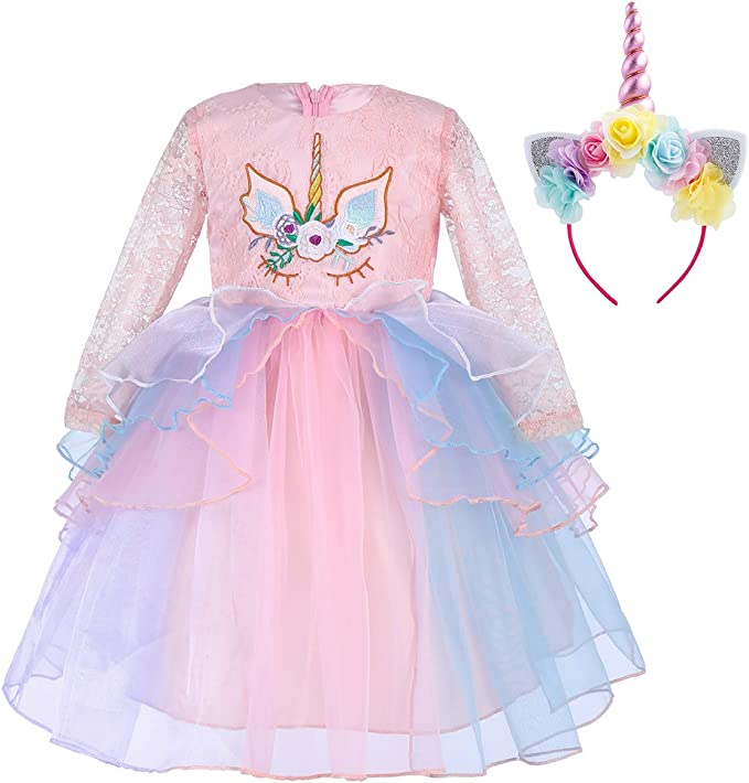 IWEMEK Princesa Unicornio Cumpleaños Bebé Niña Vestido de Manga ...
