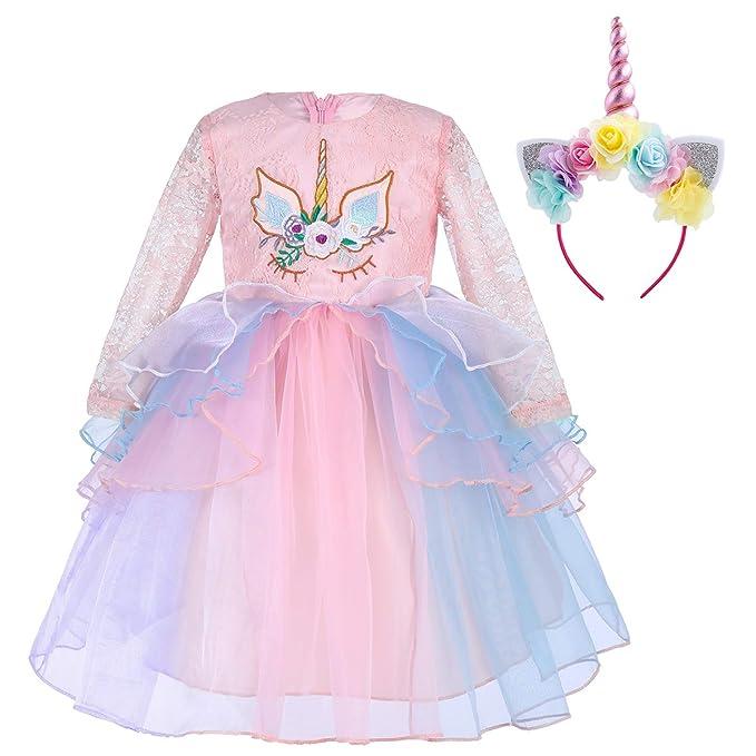 IWEMEK Princesa Unicornio Cumpleaños Bebé Niña Vestido de Manga Larga de Encaje de Tul Disfraz de Cosplay para Fiesta Carnaval Navidad Bautizo ...