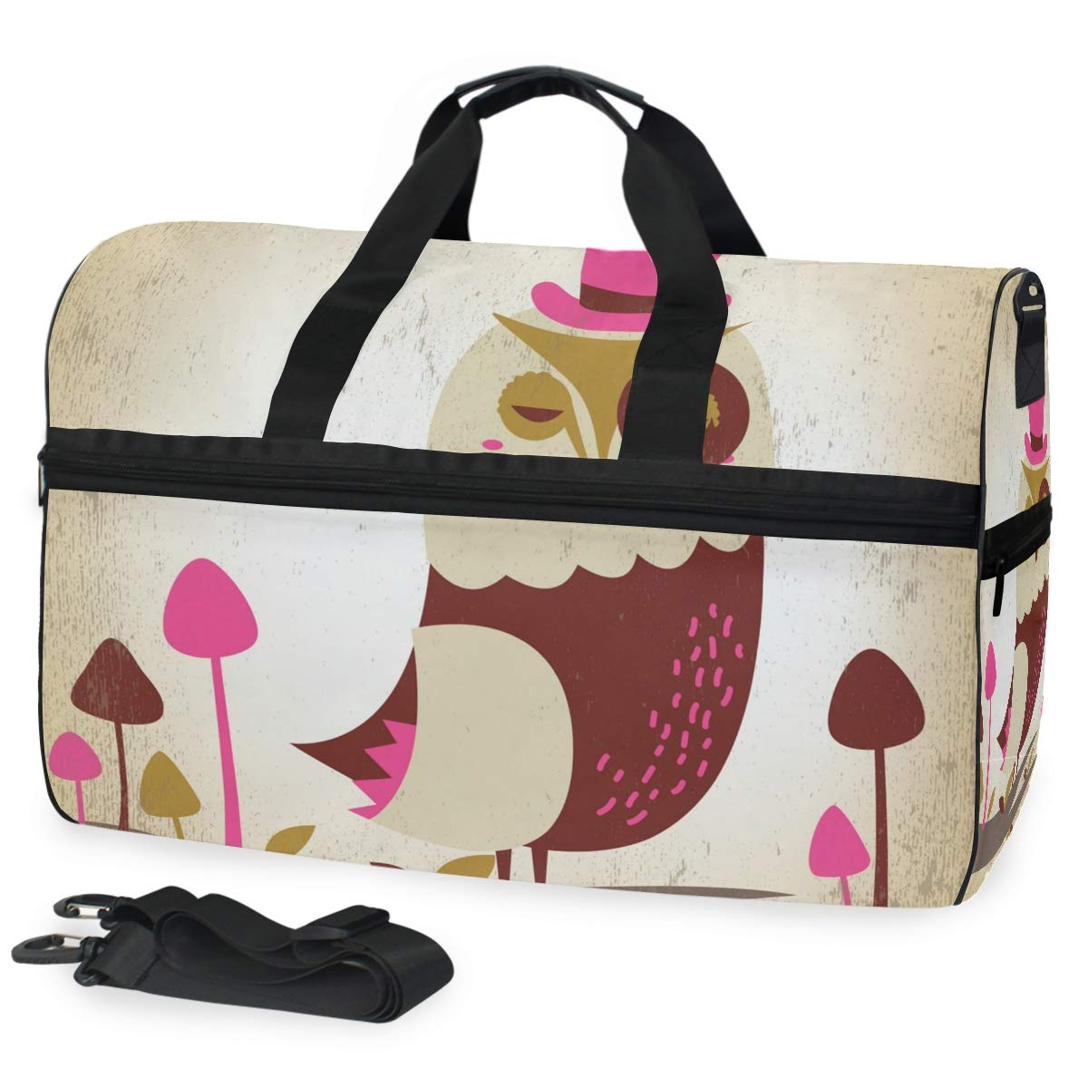 Travel Duffel Bag Vintage Cute Forest Owl Bird Waterproof Lightweight Luggage bag for Sports Gym Vacation