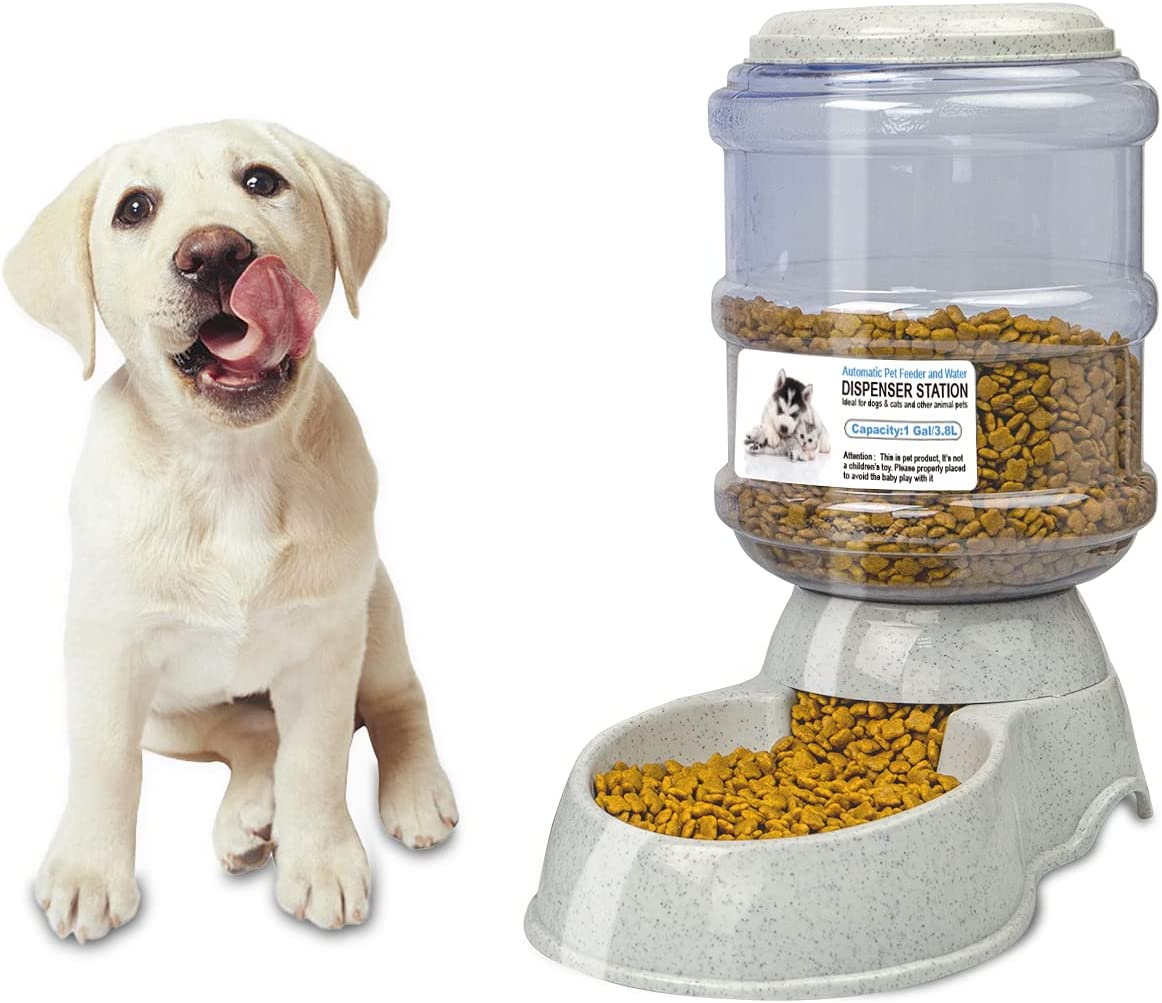67i Automatic Pet Food Feeder Dispensers Dog Feeder 1Gal Gravity Dog Feeder Easily Clean for Small Medium Dog Pets Puppy Kitten