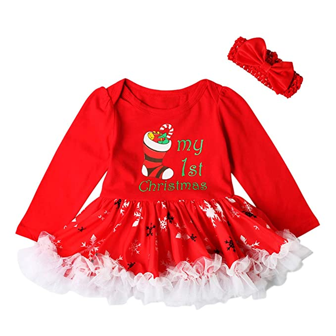 68a74448cff5 Zukuco Baby Girl My First Christmas Dress Snowflake Stockings Print Romper  Tutu Bow Headband Outfit Set