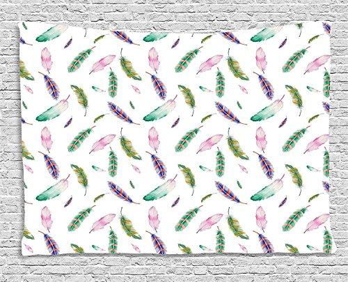 XHFITCLtd Feather Tapestry, Digitally Drawn Bird Feathers with Vibrant Abstract Design Animal Themed Artwork, Wall Hanging for Bedroom Living Room Dorm, 80 W X 60 L Inches, Multicolor by XHFITCLtd