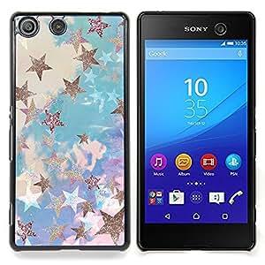- Stars Blue Gold Painting Abstract Bling/ Duro Snap en el tel????fono celular de la cubierta - Cao - For Sony Xperia M5