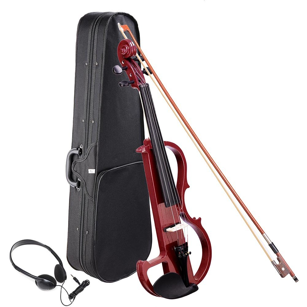 AW 4/4 Electric Violin Full Size Wood Silent Fiddle Musical Instrument Fittings Headphone Jujube Red by AW