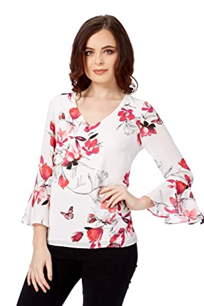 6a4e777c41abf Roman Originals Women Botanical Fluted Sleeves Top - Ladies 3 4 Length  Sleeves Work Office Interview Smart Tops Blouses - Pink Ivory  Amazon.co.uk   Clothing