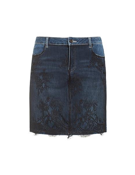 check-out ecbc7 4950d Fiorella Rubino: Gonna in Jeans con Pizzo. Blu, Taglia 45 ...