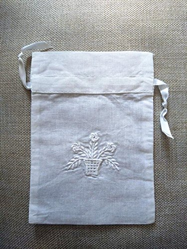 Vintage White Linen Sachet Bags Drawstring Embroidered Flowers Classic Pouch 5
