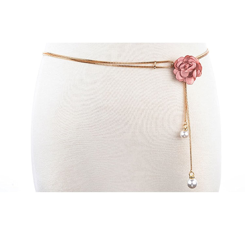 Cityelf Women's Narrow Waist Chain Belt With Flower