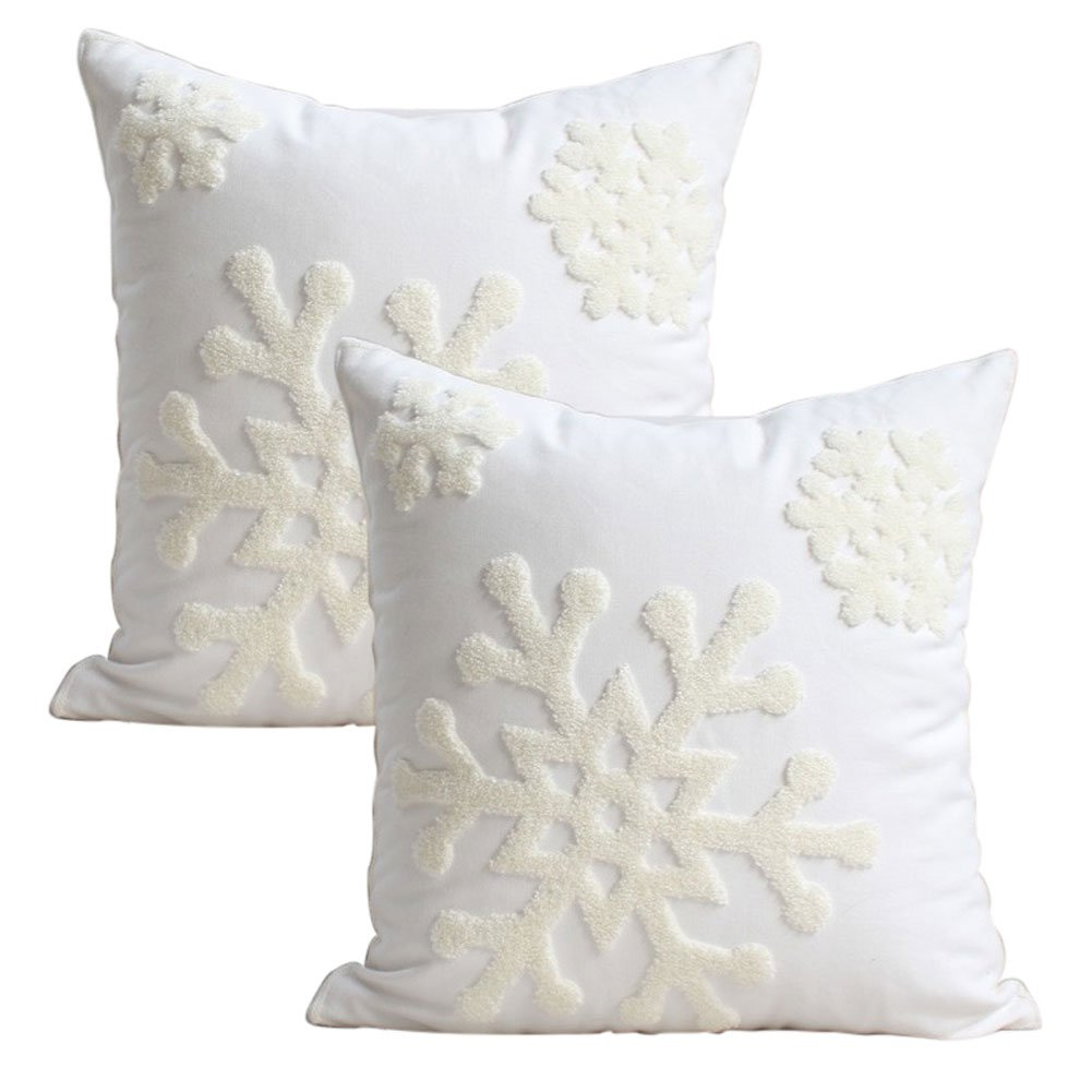 White snowflake Christmas themed winter wonder pillow cases.