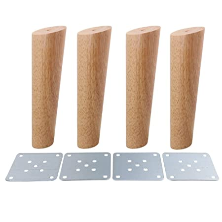 4pcs Wood Sofa Feet Oblique Tapered Wooden Furniture Legs Wood Color 18cm With White Box