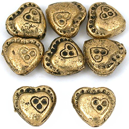 15g Double Heart Beads Antq Gold Plated 10mm Approx 8 ()