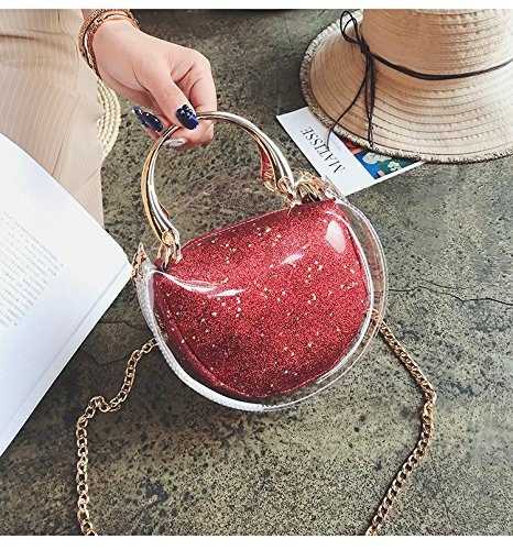 Clear With Crossbody with Transparent Bag Bag Shoulder Messenger Clear Bag NFL Approved Inner Purse Red Round Inner Handbag Tote Waterproof Sequins Stadium dTnA5xdgqw