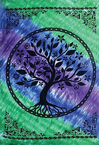 58''x82'' Tree of Life Multi Faith Design Tapestry by Oceanic Linkways