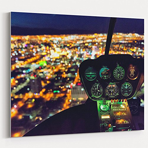 Westlake Art - Night Helicopter - 24x30 Canvas Print Wall Art - Canvas Stretched Gallery Wrap Modern Picture Photography Artwork - Ready to Hang 24x30 Inch