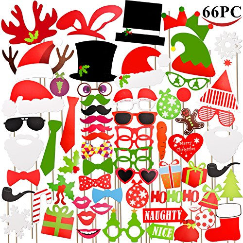 Joyin Toy 66 Pieces Christmas Photo Booth Props for Christmas Event Party Favors and Christmas Decorations Art Crafts. by Joyin Toy