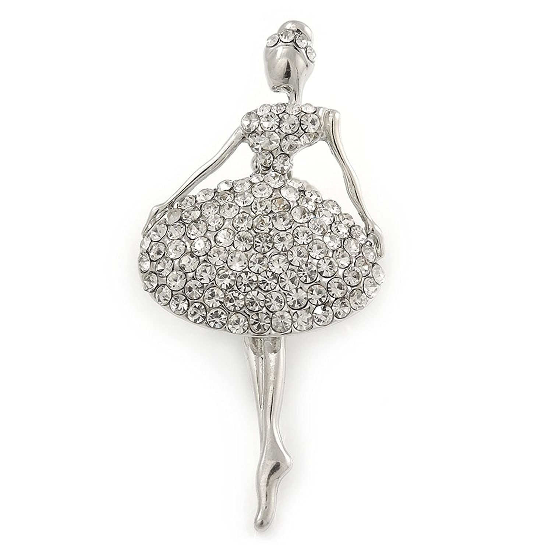 Crystal Ballerina Brooch in Silver Tone Metal Avalaya Black//White Enamel 55mm L