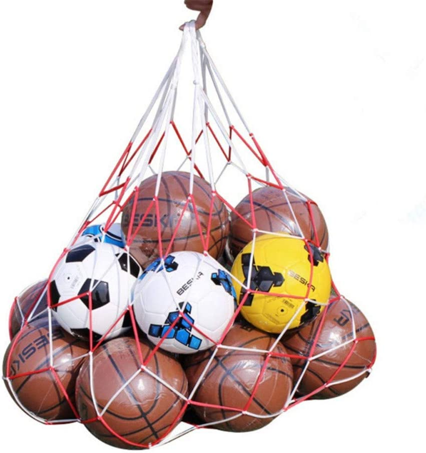 Wendy Mall White Red Basketball Storage Bag Football Soccer Sports Ball Mesh Net Nylon Bag Large Size Ball Carry Bag: Sports & Outdoors