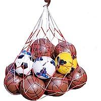 Wendy Mall White Red Basketball Storage Bag Football Soccer Sports Ball Mesh Net Nylon Bag Large Size Ball Carry Bag