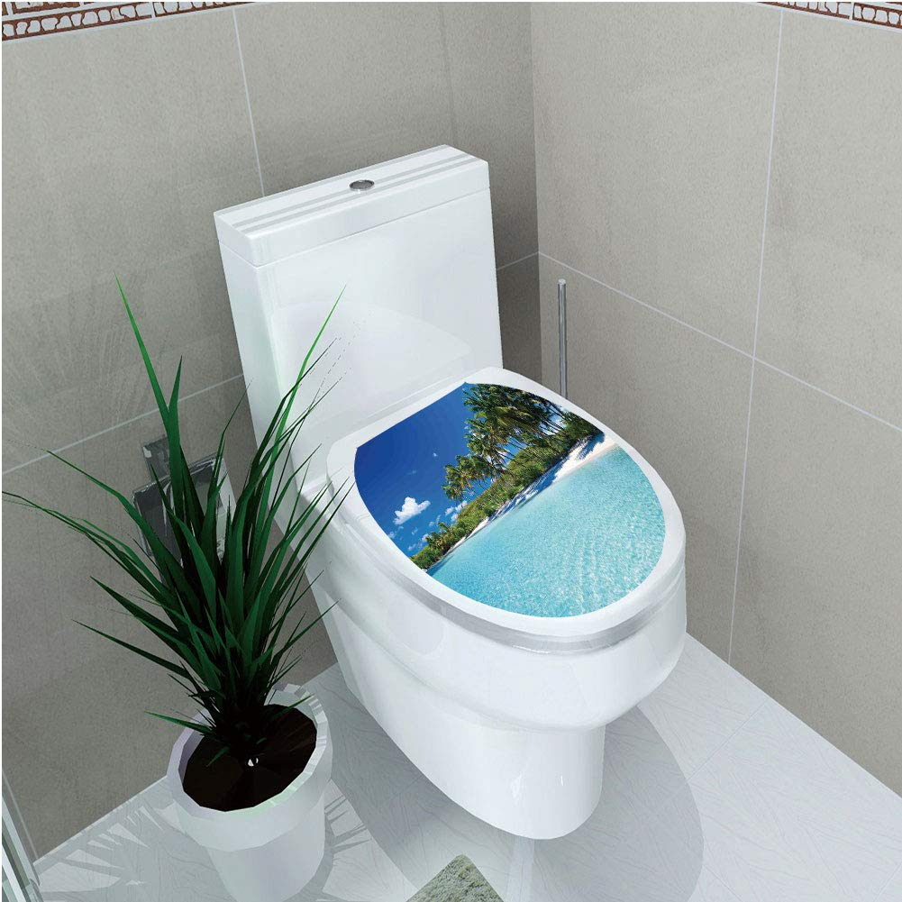 Toilet Cover Sticker 3D Printing,Ocean Decor,Relax Beach Resort Spa Palm Trees and Sea,for You Design,W11.8''xH14.2''