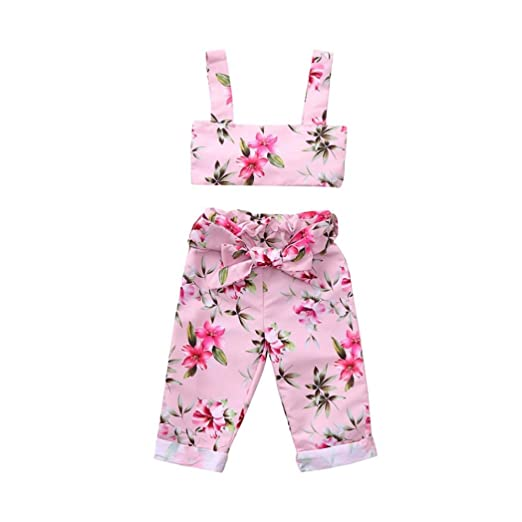 eada5398dded Amazon.com  WARMSHOP 3Pcs Outfit Sets Girls Strap Tank Tops Flower Print  Pants with Belt Princess Summer Party Holiday Stylish Clothes  Clothing