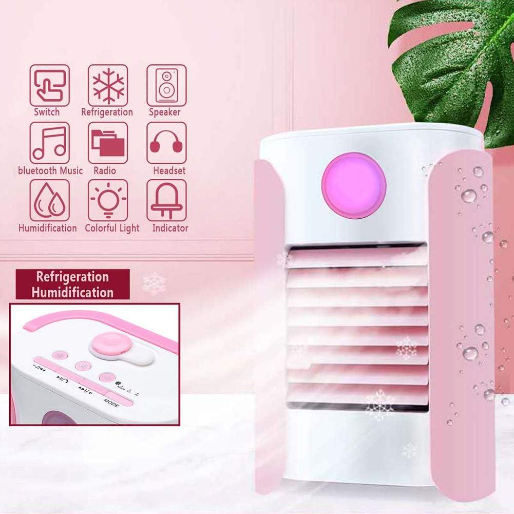 KSKTT Personal Enfriador De Aire 3 En 1 Mini Aire Acondicionado Carga USB Portátil Ventilador Escritorio con Humidificador Y Purificador Música Bluetooth para Hogar/Oficina/Coche/Al Aire Libre,Pink: Amazon.es: Hogar