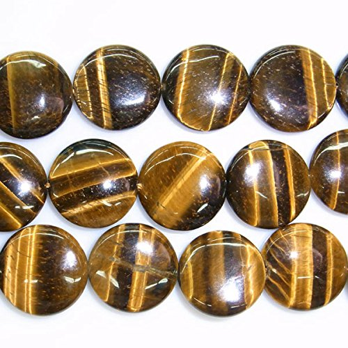 16 Mm Tiger (TheTasteJewelry 16mm Flat Round Natural Tiger Eye Beads 15 inches 38cm Jewelry Making Necklace)